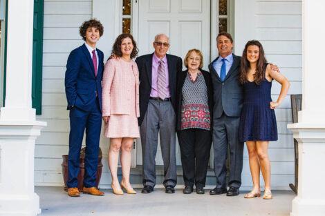 Hurd family members in front of president's residence